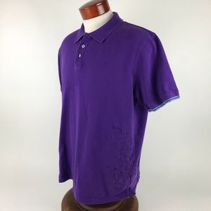 Robert Graham Embroidered XL Solid Purple Polo
